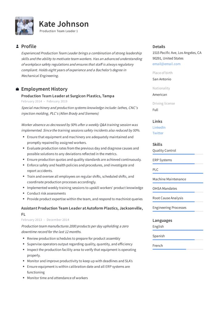 full guide production team leader resume samples pdf strong leadership skills 724x1024 Resume Strong Leadership Skills Resume