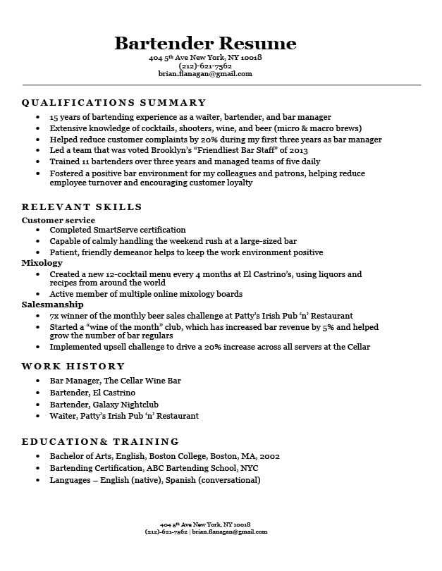 functional resume format examples templates writing guide bartender skills and qualities Resume Bartender Skills And Qualities Resume