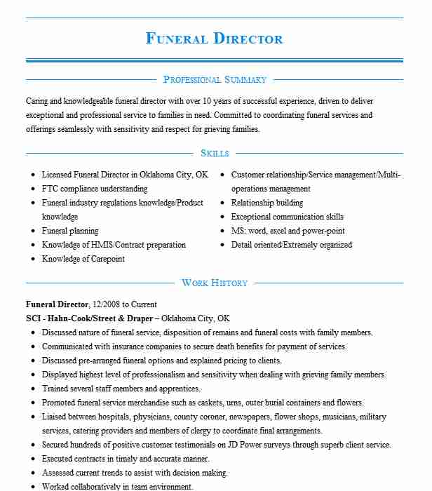 funeral director resume example resumes misc livecareer english teacher format sample for Resume Funeral Director Resume
