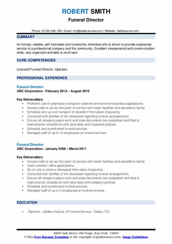 funeral director resume samples qwikresume pdf english teacher format server template or Resume Funeral Director Resume