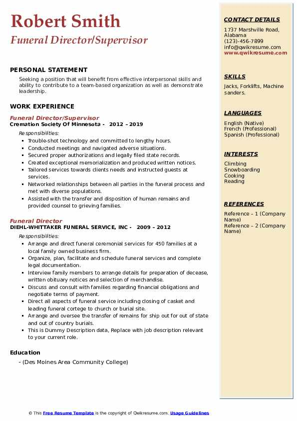 funeral director resume samples qwikresume pdf fancy templates prospective teacher Resume Funeral Director Resume