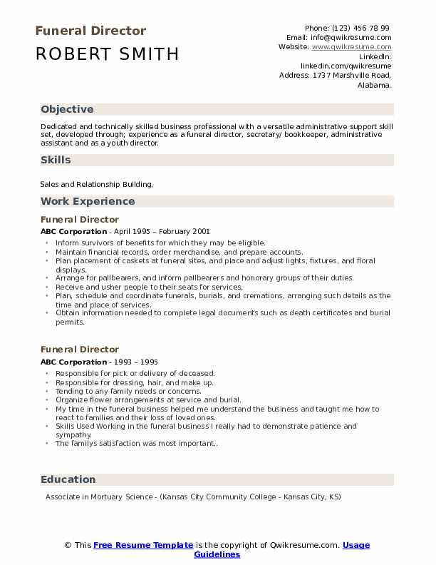 funeral director resume samples qwikresume pdf or nurse examples auditor sample cctv Resume Funeral Director Resume