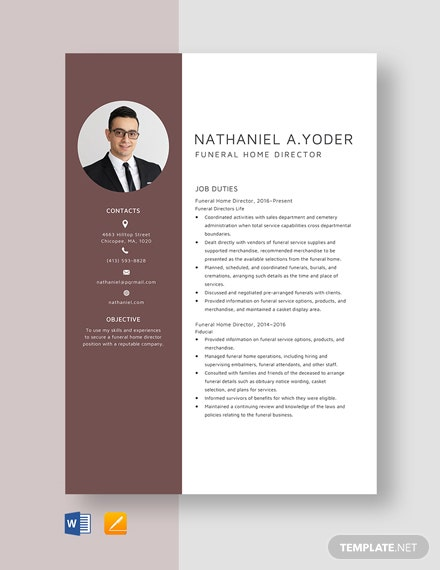 funeral home director resume cv template word apple mac server currently pursuing degree Resume Funeral Director Resume