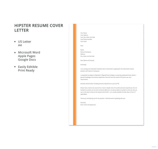 general cover letter templates pdf free premium for resume hipster template cashier Resume General Cover Letter For Resume