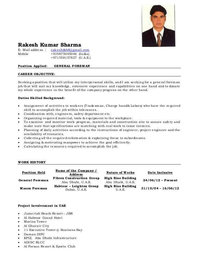 general foreman cv of rakesh construction resume objetivo para profesional oil and gas Resume Construction Foreman Resume