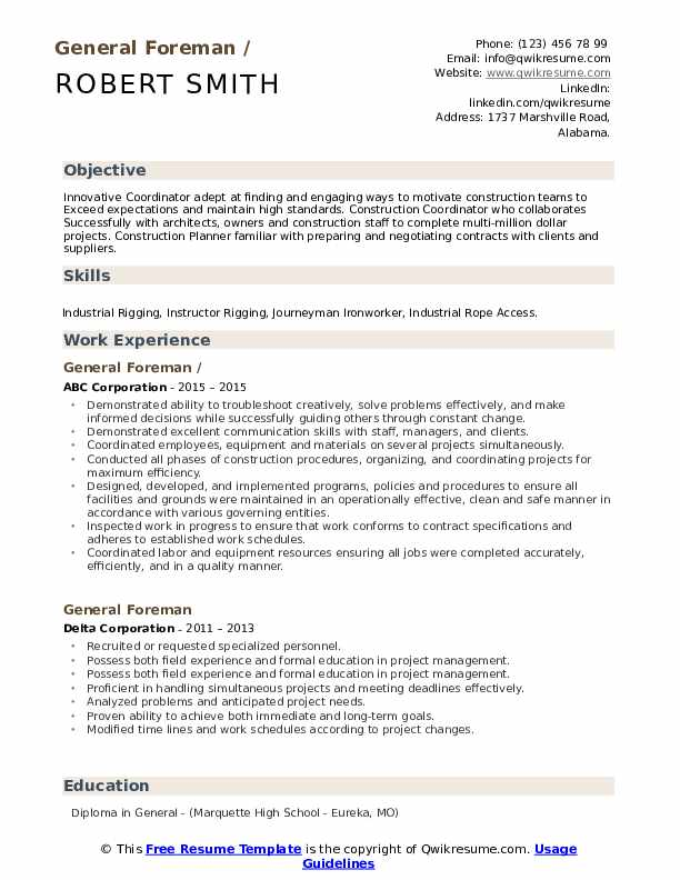 general foreman resume samples qwikresume construction pdf oil and gas examples medical Resume Construction Foreman Resume