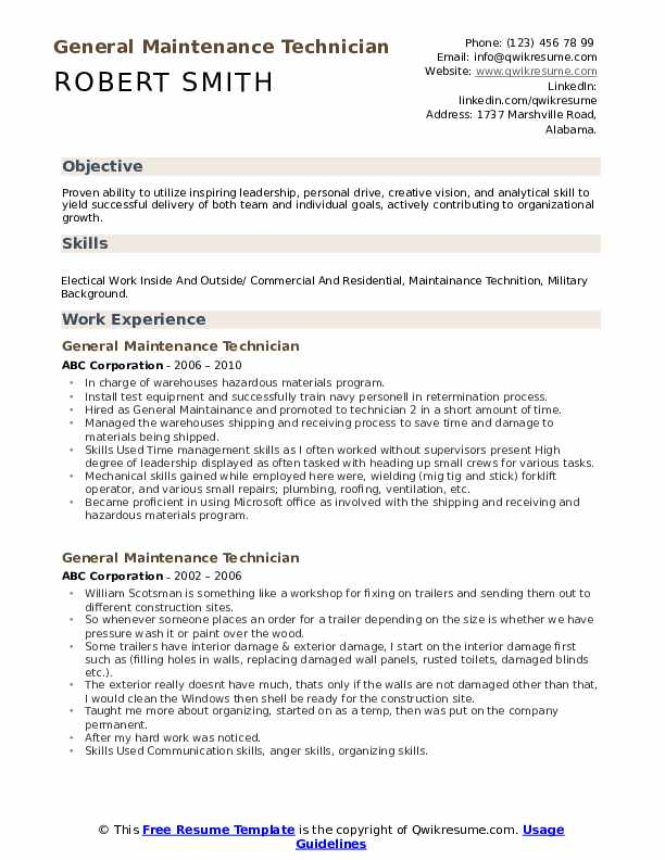 general maintenance technician resume samples qwikresume worker pdf application and Resume General Maintenance Worker Resume