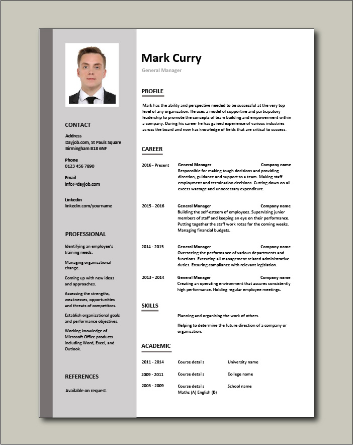 general manager cv sample responsible for daily operations and business performance Resume General Manager Resume Examples