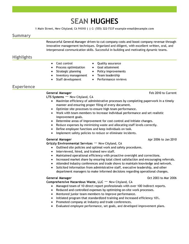 general manager resume examples created by pros myperfectresume management analyser Resume General Manager Resume Examples