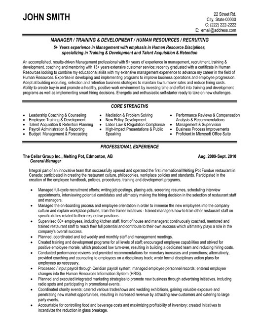 general manager resume sample template examples executive training development plantillas Resume General Manager Resume Examples