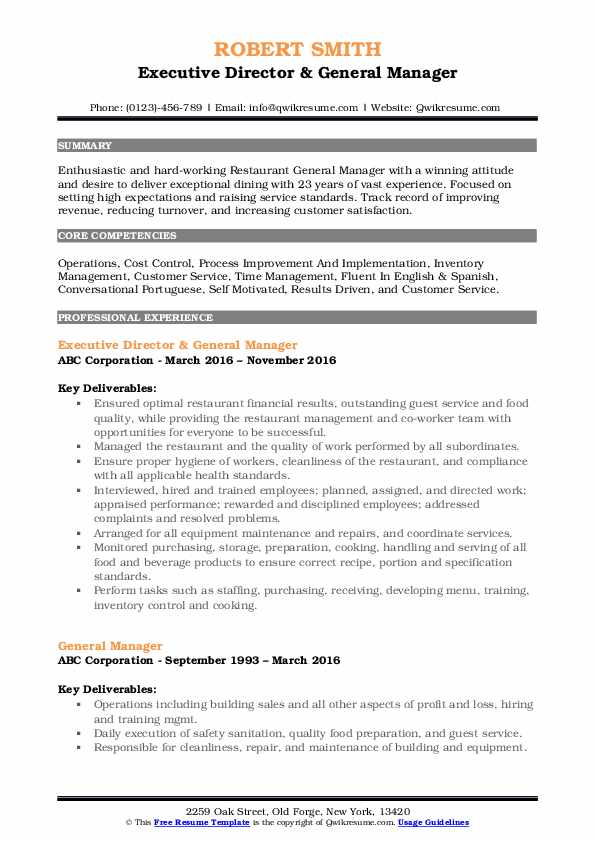 general manager resume samples qwikresume examples pdf another name for waitress on Resume General Manager Resume Examples