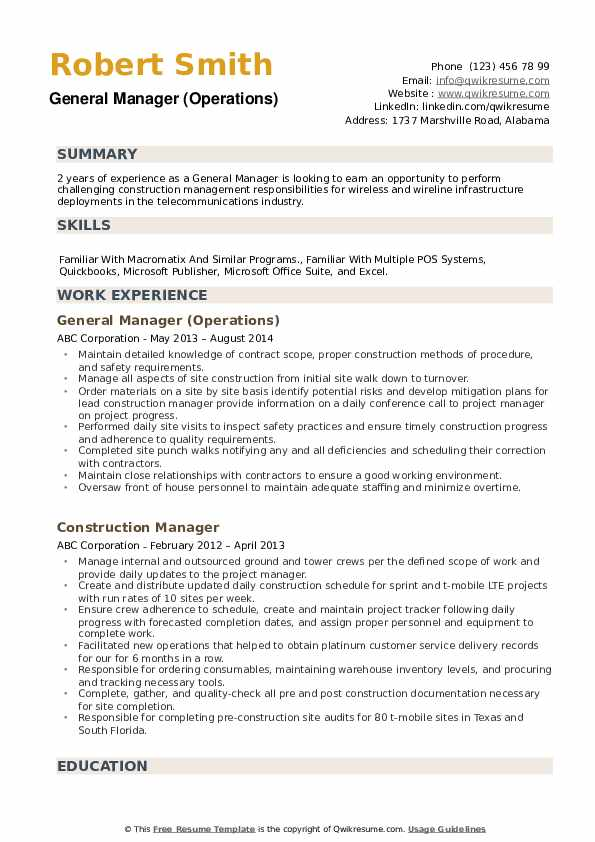 general manager resume samples qwikresume examples pdf format for dance choreographer Resume General Manager Resume Examples
