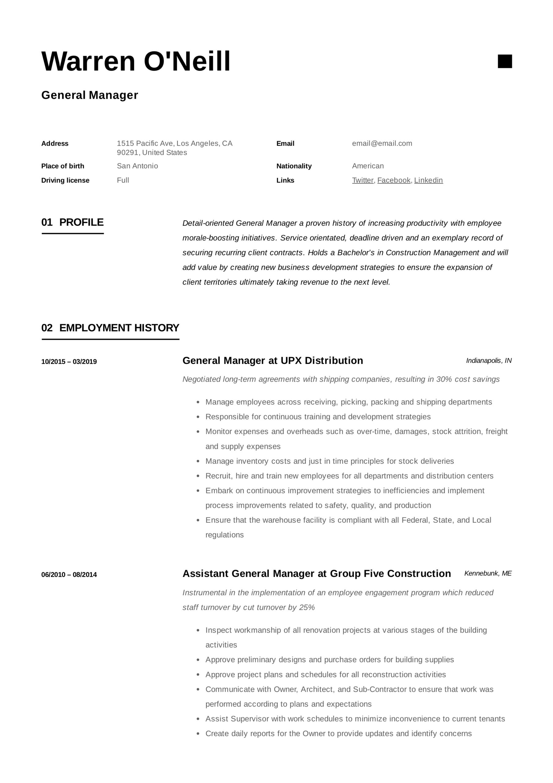general manager resume writing guide examples pdf neill mba objective statement sample Resume General Manager Resume Examples