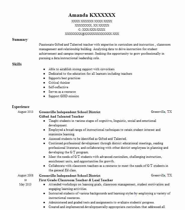 gifted and talented teacher resume example school district south carolina skills of Resume Gifted And Talented Teacher Resume