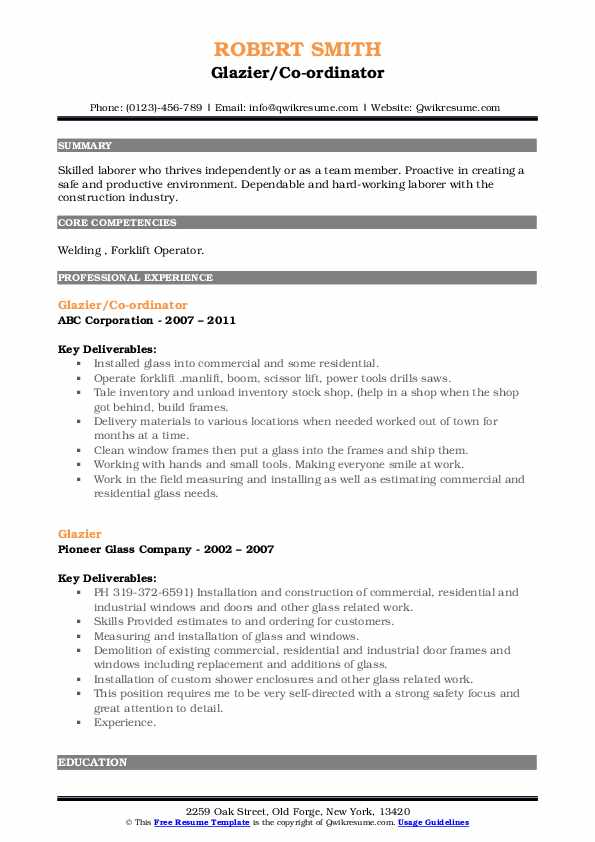 glazier resume samples qwikresume examples pdf business process management engineering Resume Glazier Resume Examples