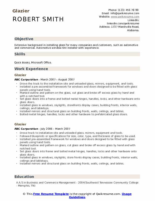 glazier resume samples qwikresume examples pdf objective for bakery job business process Resume Glazier Resume Examples
