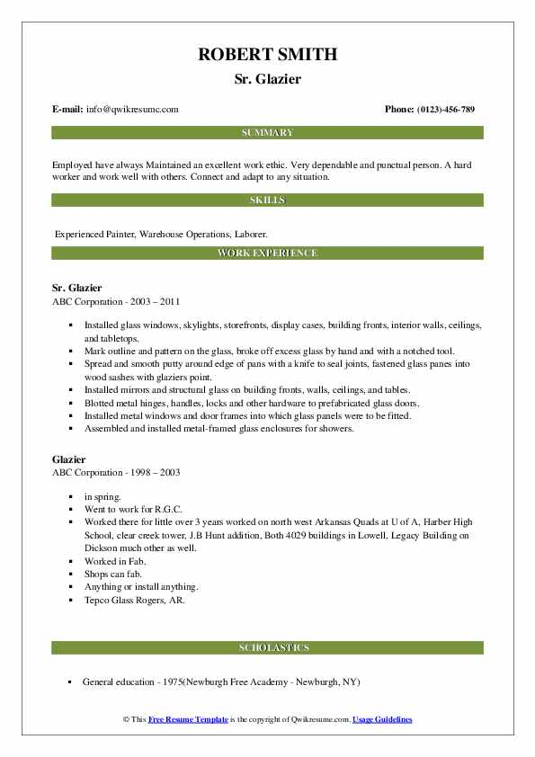 glazier resume samples qwikresume examples pdf optimal objective for bakery job Resume Glazier Resume Examples