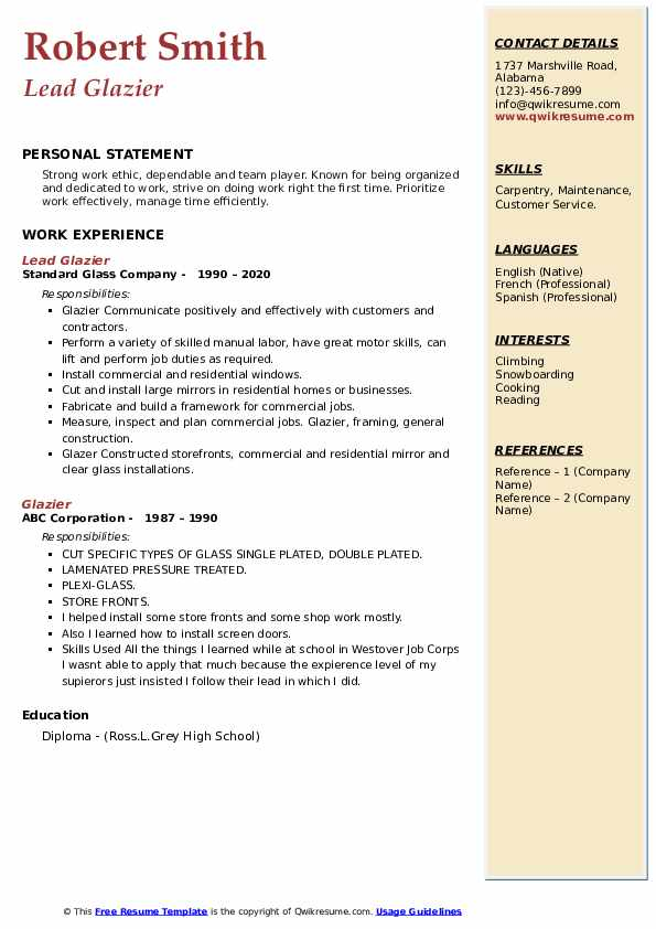 glazier resume samples qwikresume examples pdf templates microsoft word template overleaf Resume Glazier Resume Examples