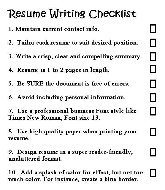 good resume writing made easy checklist for prep builder word document collaborate with Resume Checklist For Resume Writing
