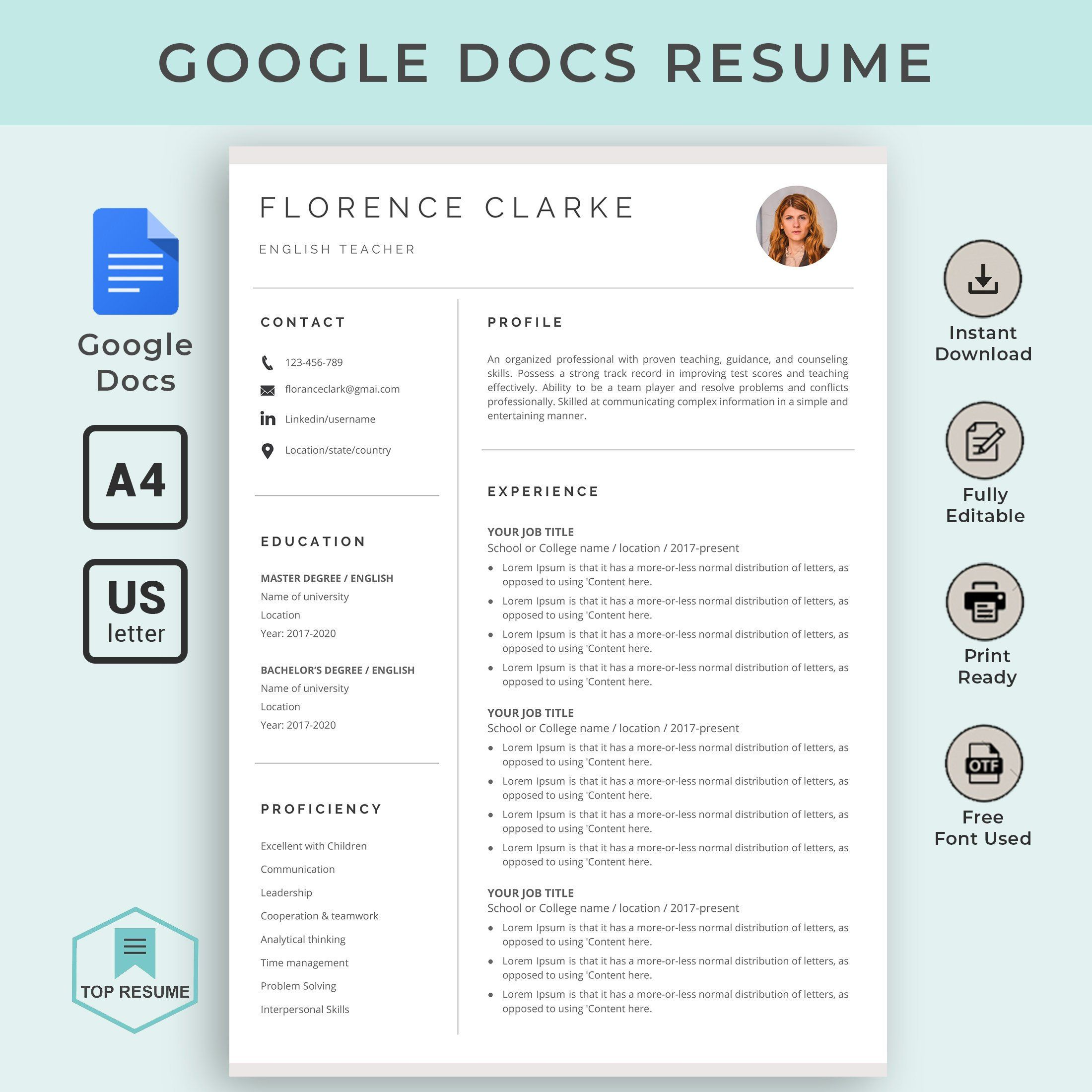 google docs resume template instant dow downloadable teacher student entry level customer Resume Google Docs Resume Template