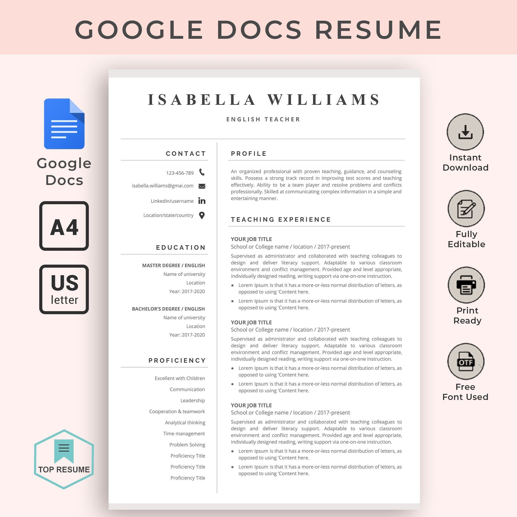 google docs resume template teacher instant cv word free templates boston college career Resume Free Google Docs Resume Templates