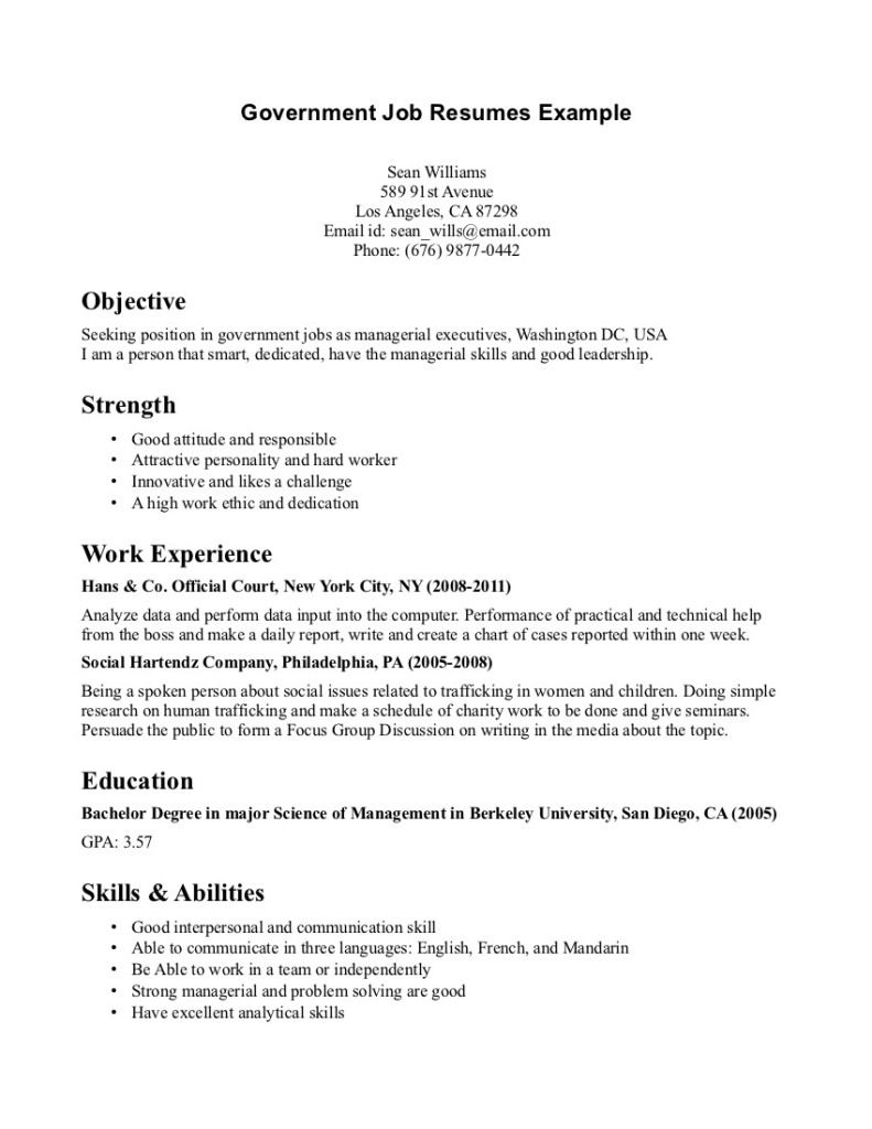 government job resumes example image simple resume examples for jobs template of employee Resume Resume Of Government Employee