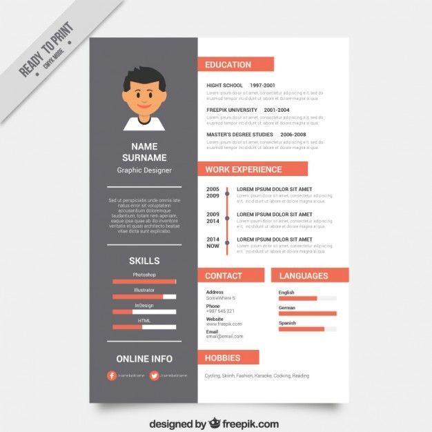 graphic designer resume template vector free design for easy generator high school after Resume Resume For Graphic Designer Free Download