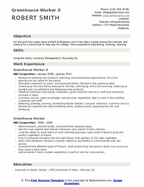 greenhouse worker resume samples qwikresume second job examples pdf technical project Resume Second Job Resume Examples