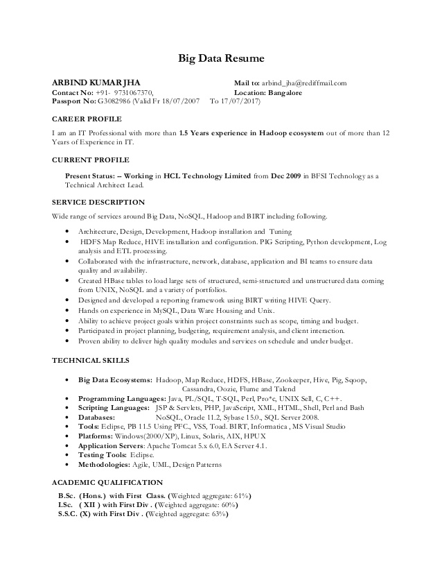 hadoop big data resume experience contagion film notary public on awarded employee of the Resume Hadoop Experience Resume