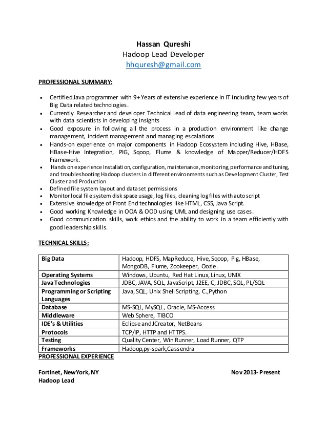 hadoop resume experience basic outline coach subscription drive templates finance officer Resume Hadoop Experience Resume