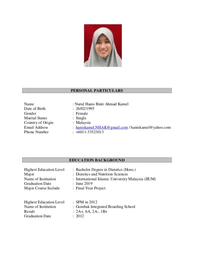hanis resume for public malaysian sample thumbnail business administration examples Resume Malaysian Resume Sample