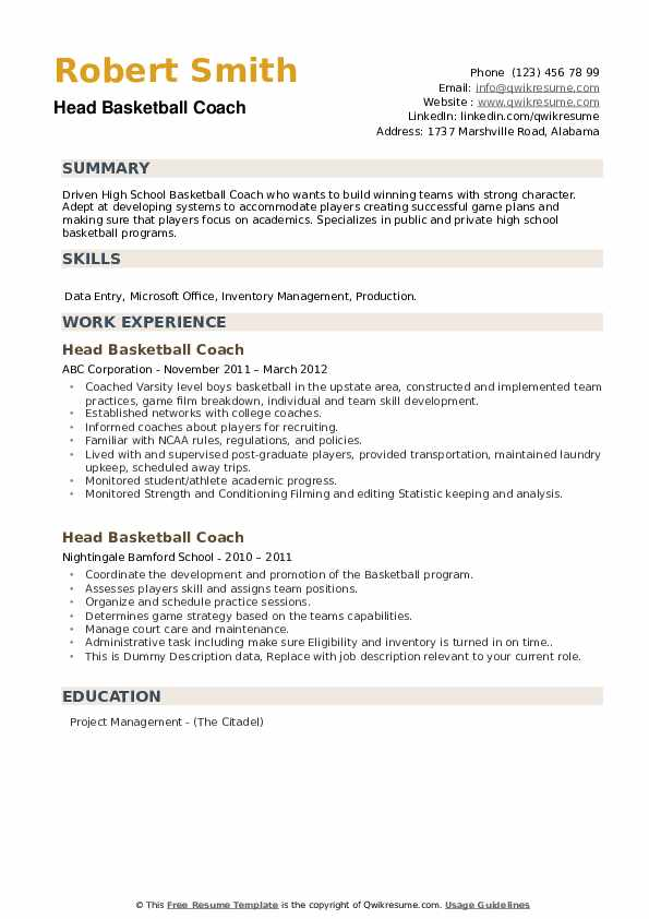 head basketball coach resume samples qwikresume pdf gratis free management ccna certified Resume Head Basketball Coach Resume