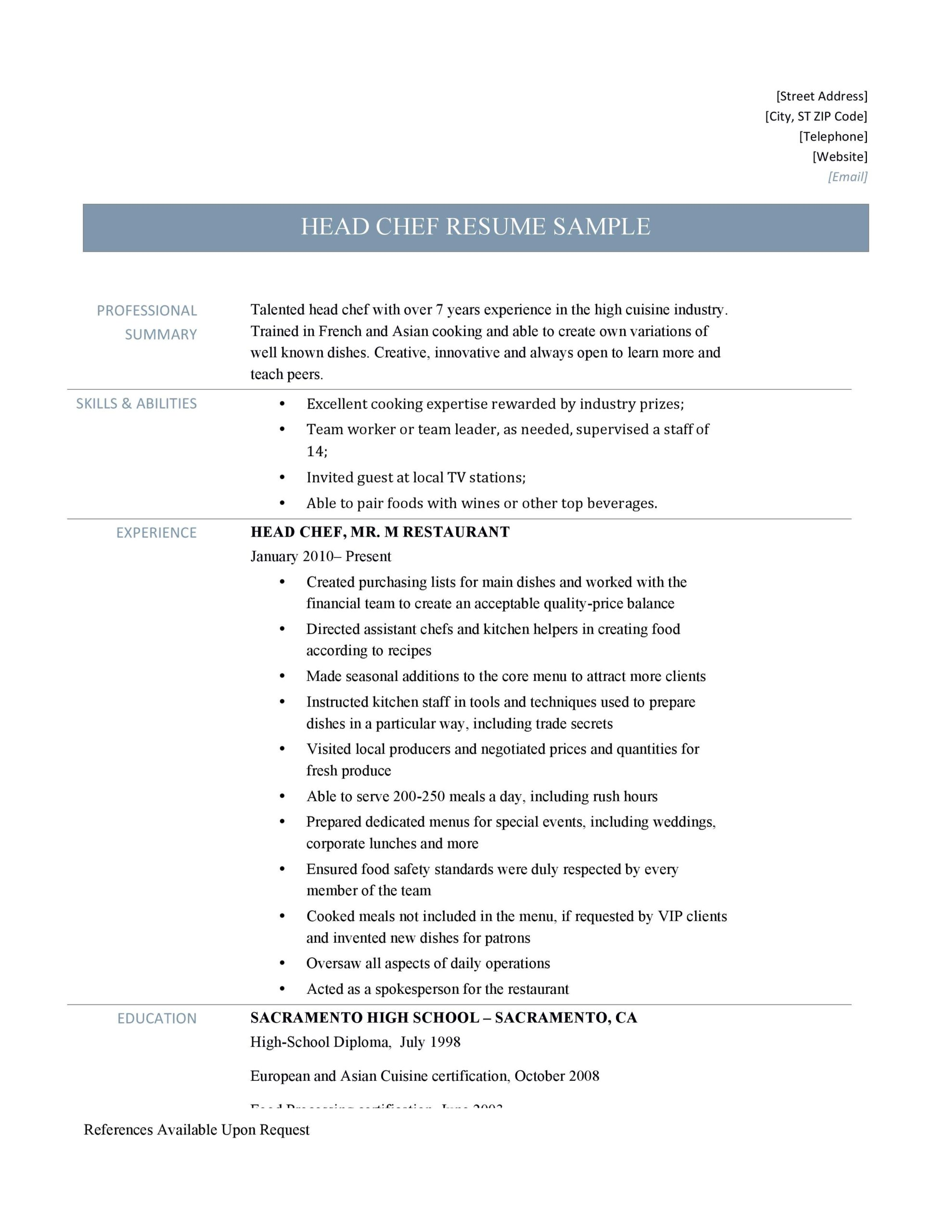 head chef resume samples and job description by builders medium culinary builder Resume Culinary Resume Builder