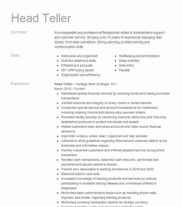 head resume example banking resumes livecareer objective optimal login headshot Resume Teller Resume Objective