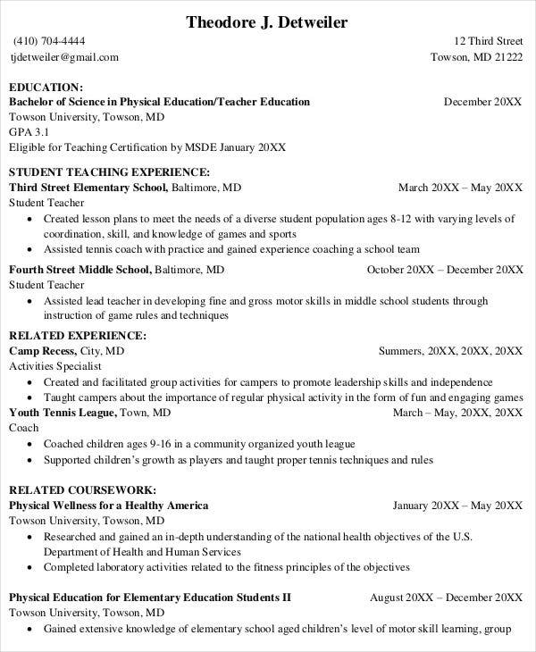 health and physical education teacher resume november teaching template student software Resume Physical Education Resume