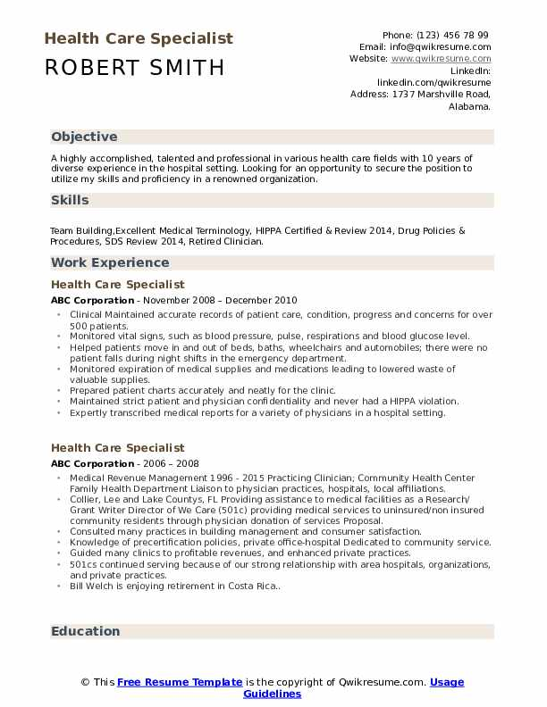 health care specialist resume samples qwikresume free healthcare pdf self employed Resume Free Healthcare Resume Samples