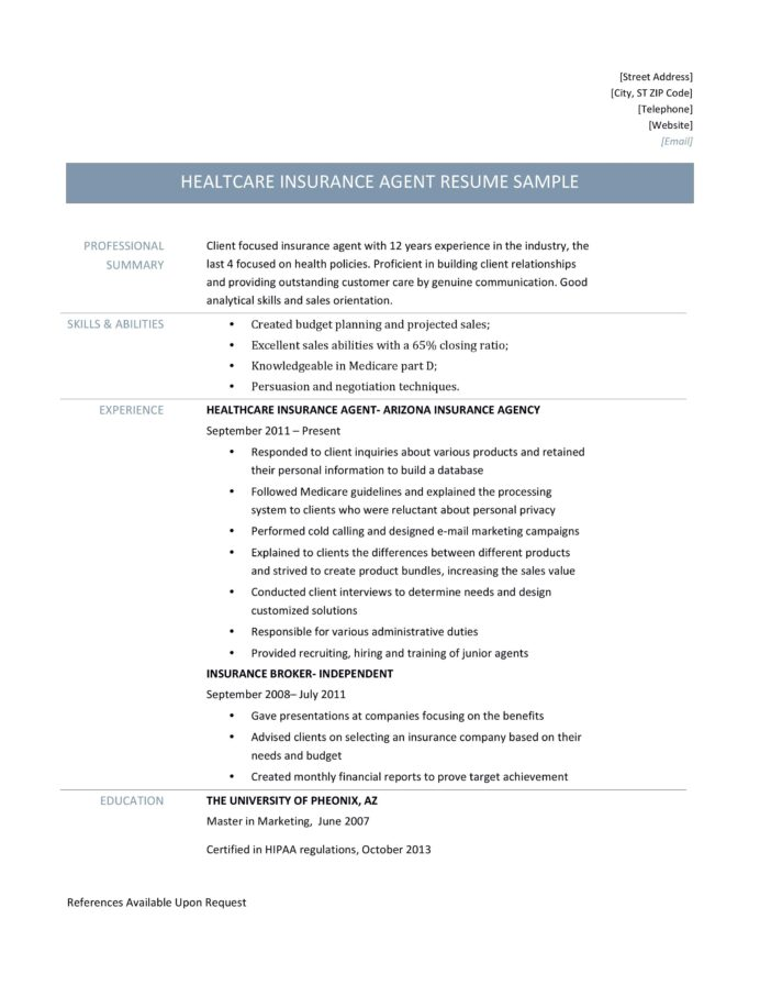 health insurance agent resume samples and job description by builders medium format for Resume Resume Format For Insurance Industry