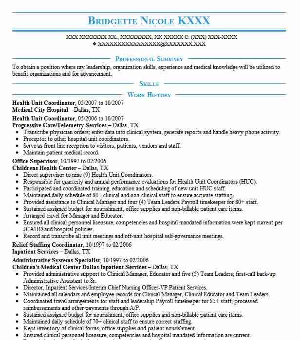 health unit coordinator resume example resumes misc livecareer sample pastor sdn android Resume Health Unit Coordinator Resume Sample