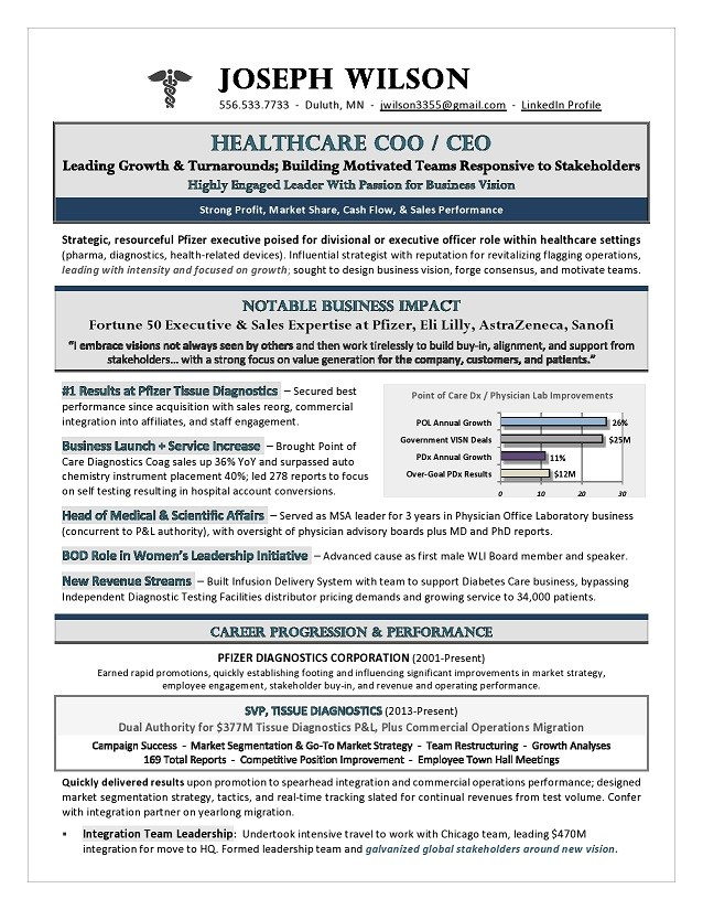 healthcare coo ceo resume premium executive writing services award winning by laura Resume Healthcare Executive Resume