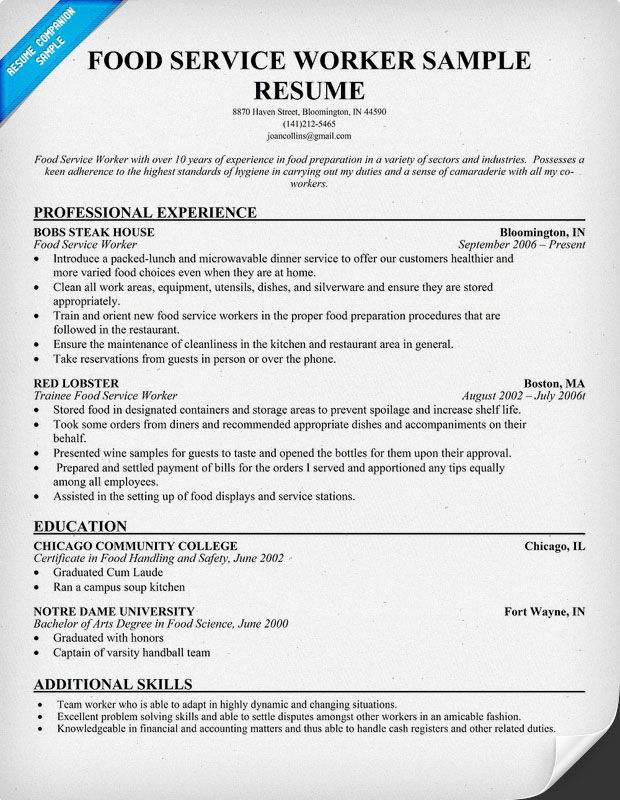 healthy recipe collections food service worker resume examples server safety objective Resume Food Safety Resume Objective