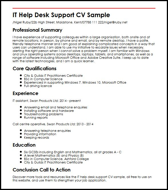 help desk support cv example myperfectcv resume summary it sample event coordinator Resume Help Desk Resume Summary