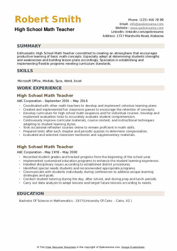 high school math teacher resume samples qwikresume summary pdf important sections of Resume High School Resume Summary
