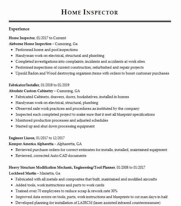 home inspector resume example resumes livecareer objective examples fashion merchandising Resume Inspector Resume Objective Examples