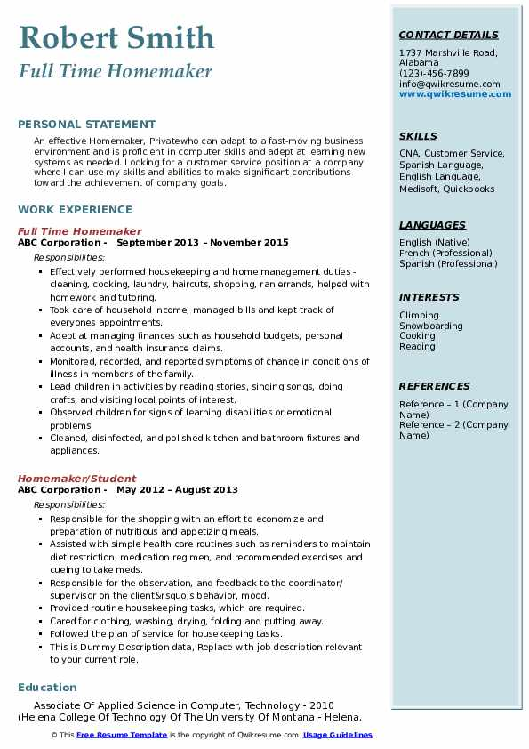 homemaker resume samples qwikresume skills for pdf basic and abilities organizational on Resume Homemaker Skills For Resume