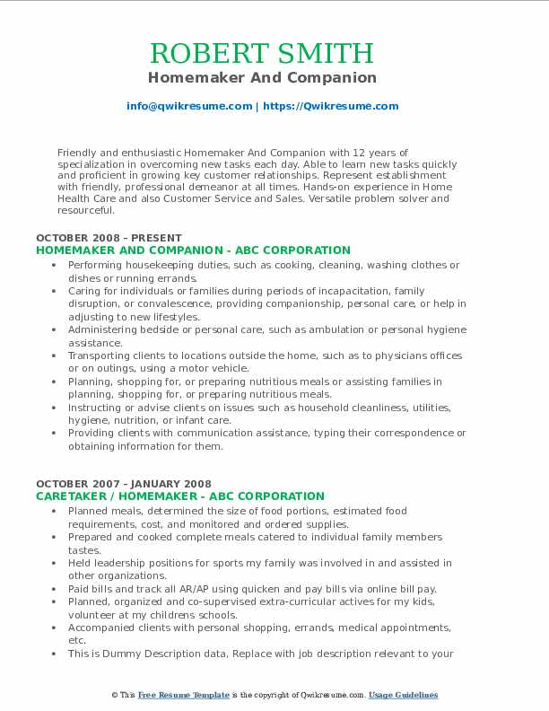 homemaker resume samples qwikresume skills for pdf basic and abilities sample college Resume Homemaker Skills For Resume