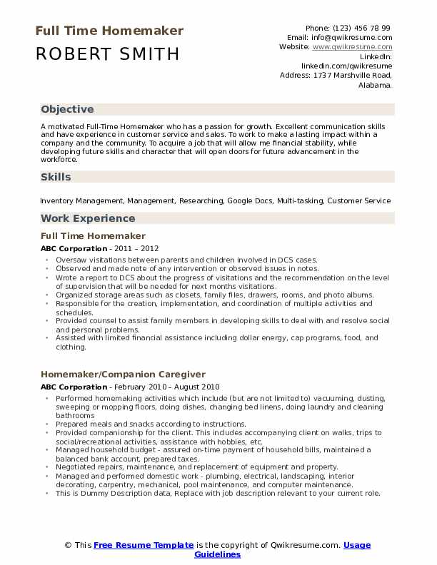 homemaker resume samples qwikresume skills for pdf sample college student little work Resume Homemaker Skills For Resume