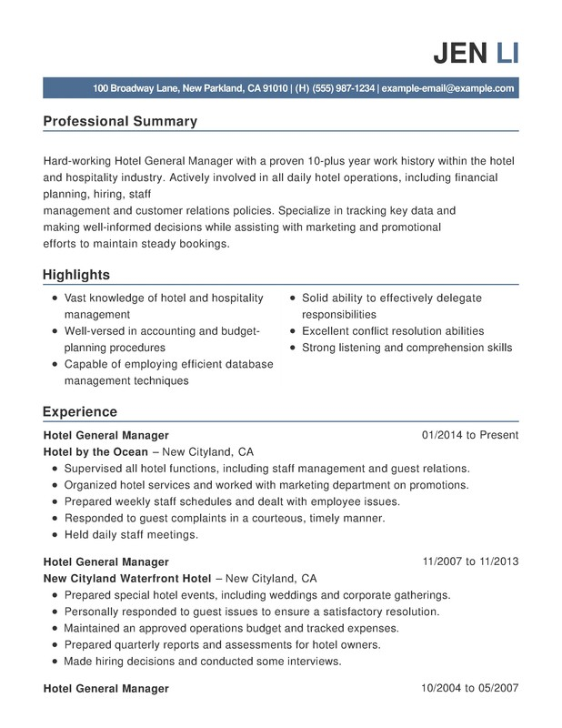 hotel hospitality combination resume samples examples format templates help conflict Resume Resume Conflict Resolution