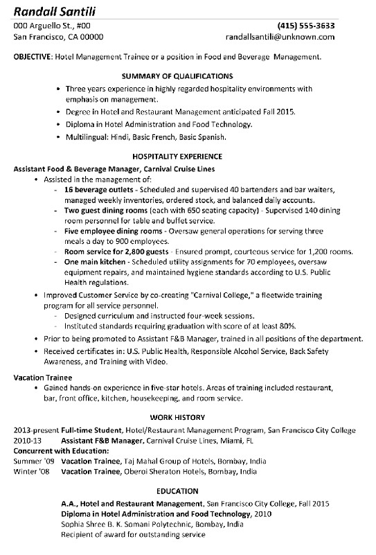 hotel management resume format for hospitality industry functional sample trainee Resume Resume Format For Hospitality Industry
