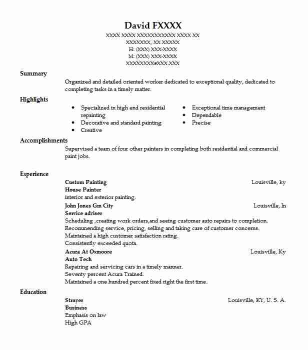 house painter resume example resumes livecareer description for construction worker Resume Painter Description For Resume