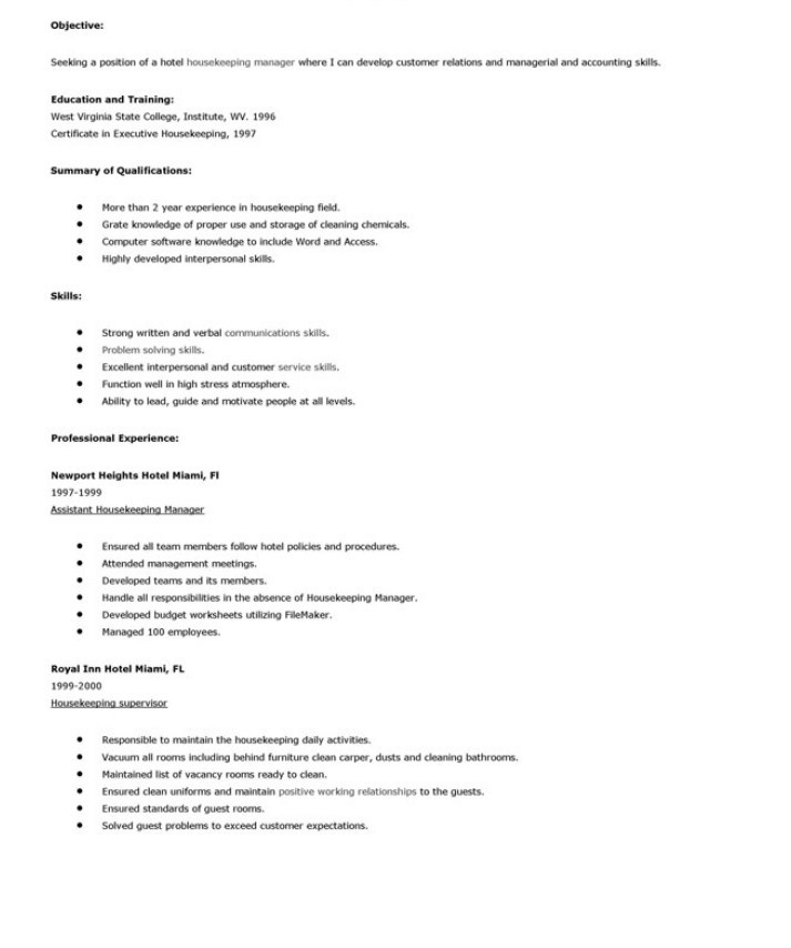 housekeeper housekeeping resume skills sample for position objective summary empire Resume Sample Resume For A Housekeeping Position